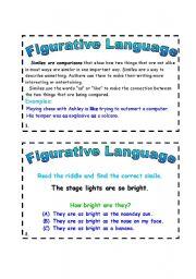 English Worksheet: Figurative Language Task Cards (1)
