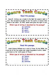 English Worksheets: Genre Task Cards