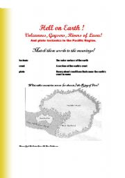 English Worksheets: Volcanoes, geysers, and rivers of lava. Hell on Earth!