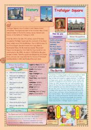 English Worksheets: Trafalgar Square (2 pages)