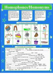 English Worksheet: HOMOPHONES/HOMONYMS 2 pages(1color, 1B & W)