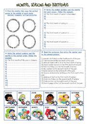 English Worksheet: Months, Seasons and Birthdays