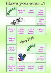 English Worksheets: board game - have you ever...?