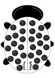 English Worksheet: Ladybug or Ladybird Gameboard Black and White