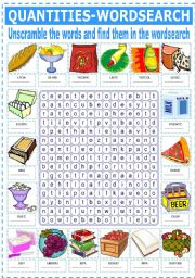 English Worksheet: EXPRESSIONS OF QUANTITY - WORDSEARCH