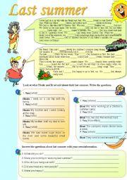 English Worksheet: Last summer