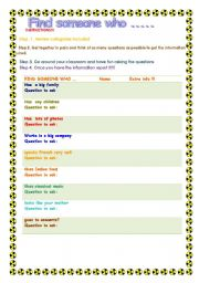 English worksheet: PRESENT SIMPLE -- FIND SOMEONE WHO...