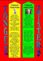 English Worksheet: TONGUE TWISTERS BOOKMARKS