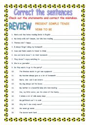 PRESENT SIMPLE -- correct the sentences