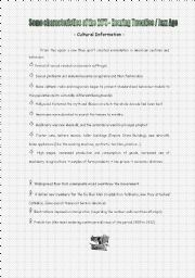 English Worksheets: Cultural Information about the 20s