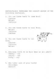 English Worksheet: worksheet for teeth