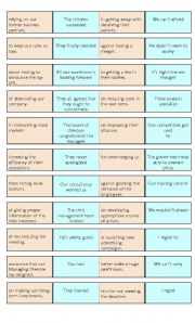 English Worksheet: Dominoes to practise  verb patterns, to infinitive, bare inf. and gerund with prepositions