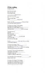 English Worksheets: I�ll be waiting - Lenny Kravitz