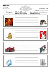 English Worksheets: comparisons writing