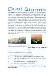 English Worksheets: Natural disaster- sandstorm (dust storm)