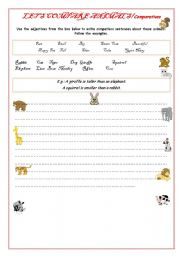 English Worksheet: Let�s compare animals!