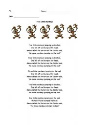 English Worksheet: Phonics Song- Five Little Monkeys