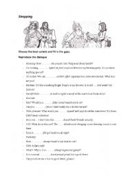 English Worksheet: shopping dialogue
