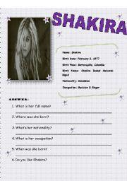 English worksheet: SHAKIRA (identifying personale informaton)