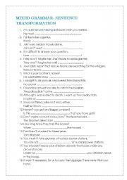 English Worksheet: mixed grammar-sentence transformation