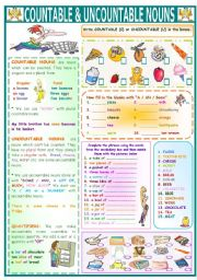 English Worksheet: COUNTABLE&UNCOUNTABLE NOUNS