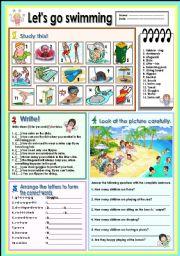 Swimming | Worksheet | Education.com