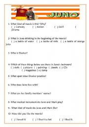 English Worksheets: Juno - MovieSheet w/ Answer Key