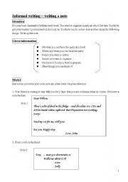 English Worksheets: note writing for junior students
