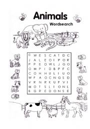 English Worksheets: ANIMAL WORDSEARCH 2