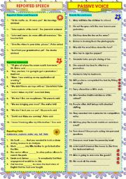 English Worksheet: REPORTED SPEECH - PASSIVE VOICE