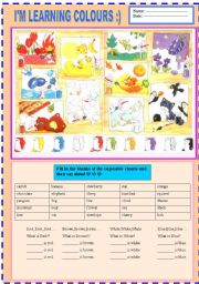 English Worksheets: 2 pages- I�M LEARNING COLOURS :) WITH ENJOYABLE CHANTS