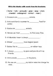 English worksheets: Vocabulary and Grammar Test Grade 4
