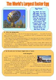 English Worksheet: The world�s largest Easter egg