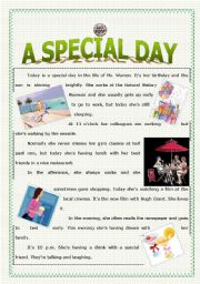 English Worksheet: A Special Day