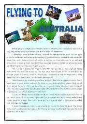 English Worksheet: Flying to Australia