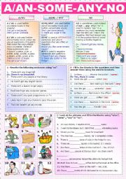 English Worksheet: A/AN-  SOME - ANY-  NO