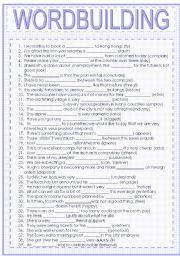English Worksheets: wordbuilding
