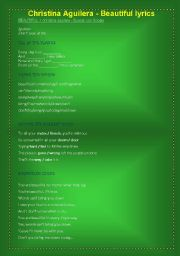 English Worksheets: BEAUTIFUL (CHRISTINA AGUILERA)