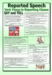 English Worksheet: Reported Speech - A complete guide (2/2)