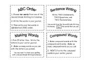English Worksheets: Sight Word Task Cards