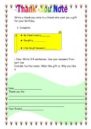 English Worksheets:  writing a note