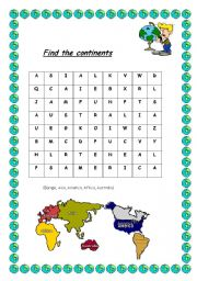 English teaching worksheets: The continents