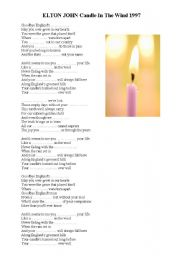 English Worksheets: ELTON JOHN Candle In The Wind 1997 - Princess Diana�s Death