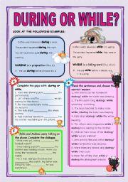 English Worksheet: DURING OR WHILE?