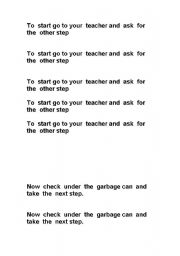 English worksheet: Following the steps