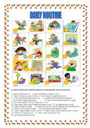 English Worksheet: Daily routine-matching sentences with pictures, clock