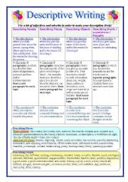English Worksheet: Writing Descriptive Essays