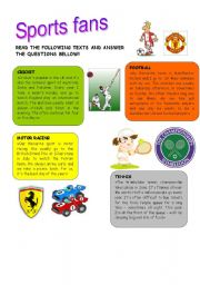 English Worksheet: Sports fans - reading comprehension