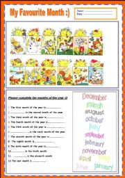 English Worksheet: MY FAVOURITE MONTH .........               ; )