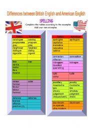 English Worksheet: spelling differences between BrE and AmE